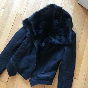 COMME PREMIUM black fur collar jacket